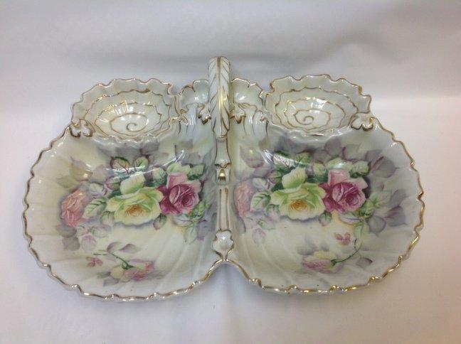 Antique Ceramic Floral Relish Dish