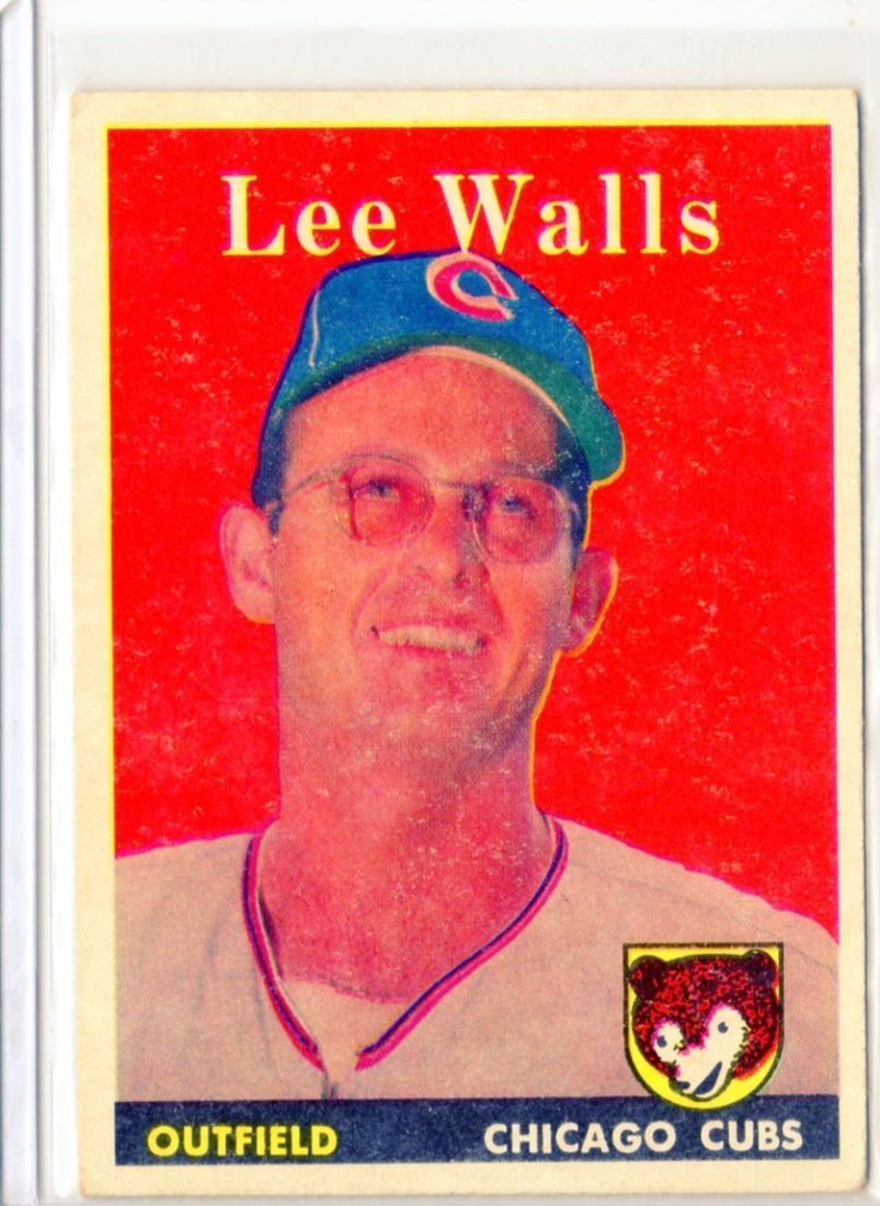 1958 Lee Walls Topps # 66 Outfield Cubs