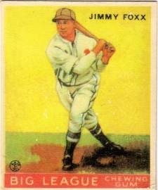 1933 Goudey # 154 Jimmy Foxx Rookie Card. Authenticated