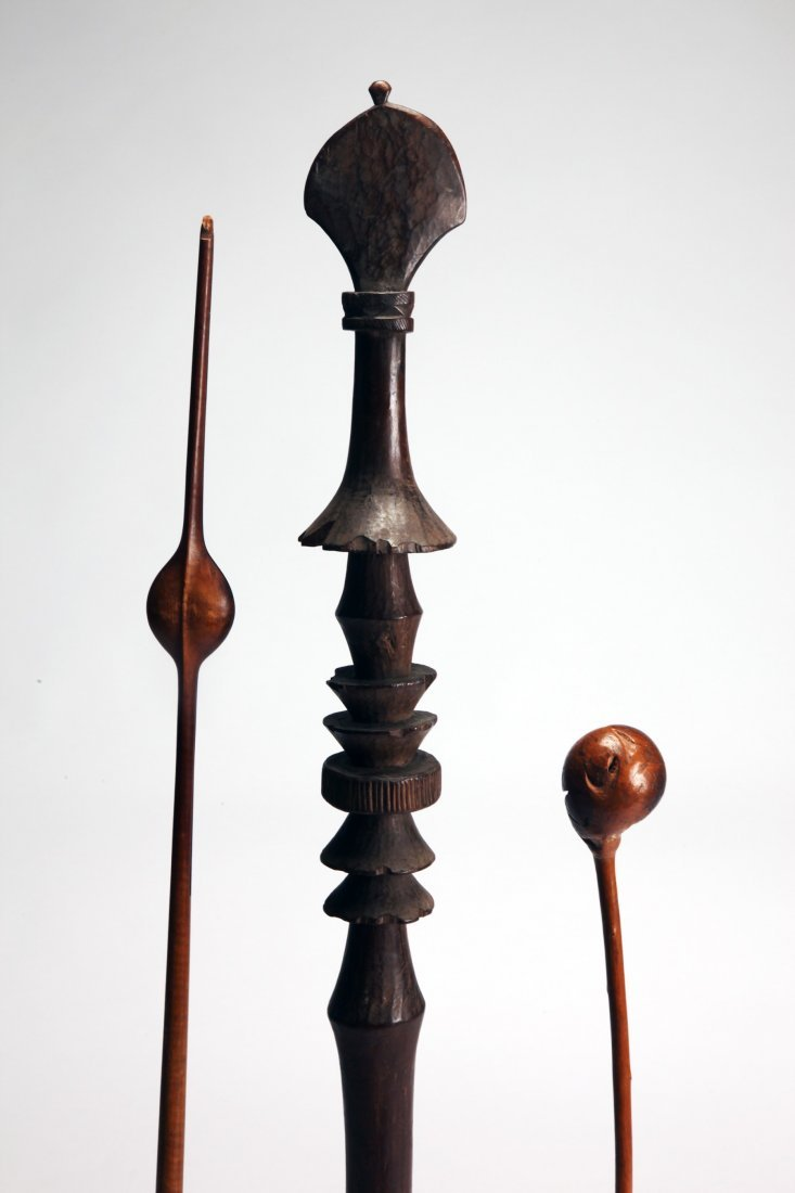 Lot of 3 African Carved Wood objects - 3