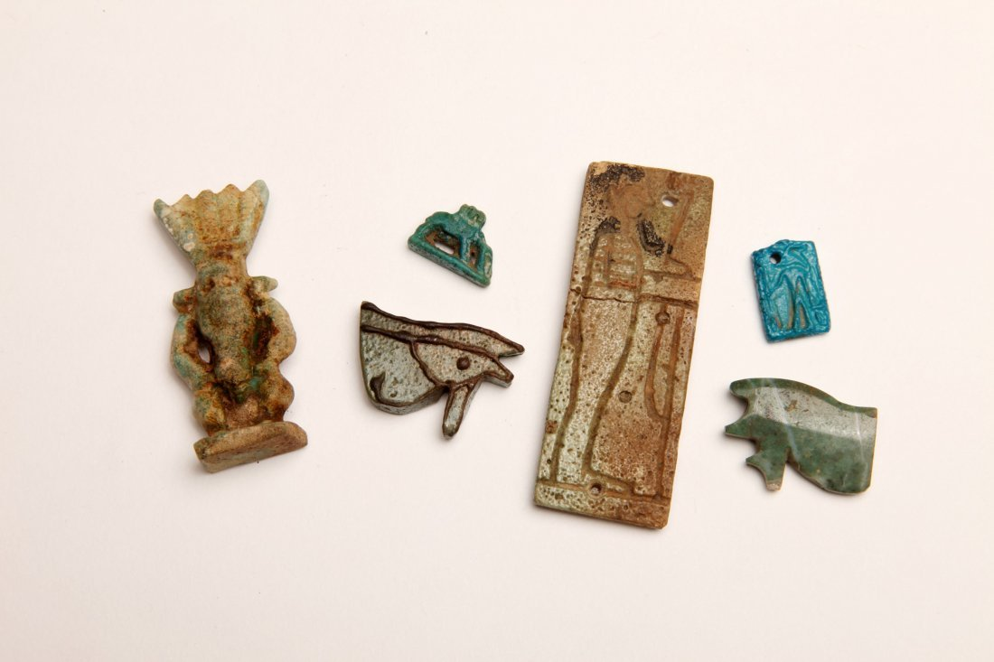 Group of 6 Egyptian Faience and Stone Amulets