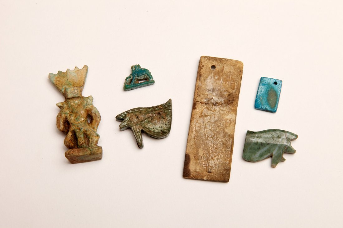 Group of 6 Egyptian Faience and Stone Amulets - 2