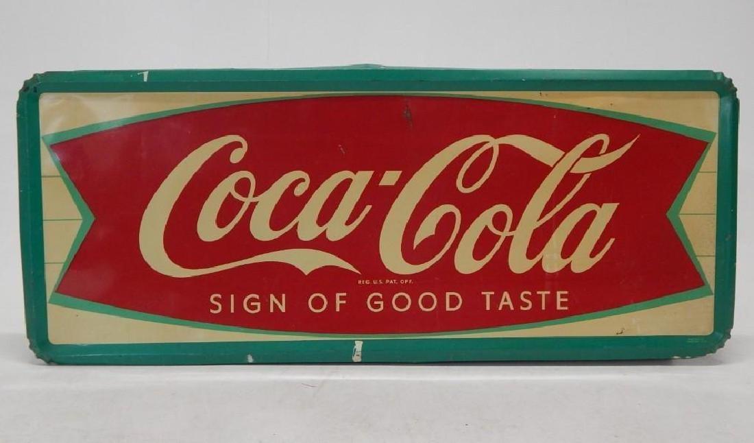 Large Coca-Cola Metal Fishtail Sign