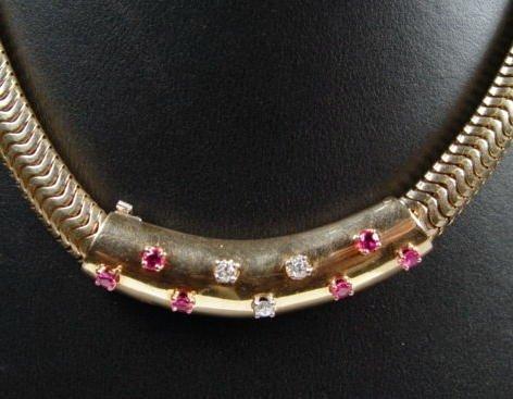 373: 14Kt Diamond & Ruby Necklace