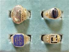 465 Four Vintage Gents Rings 10K Gold