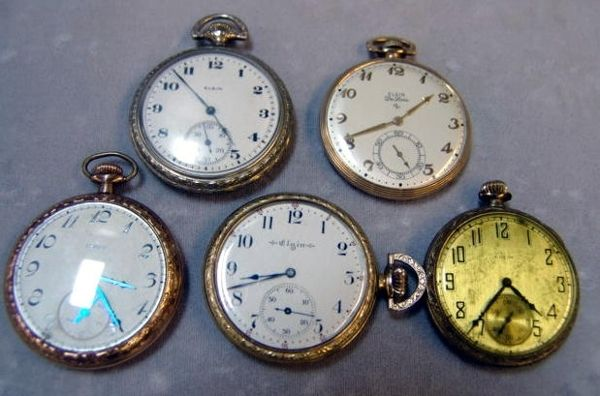 16: Group of 5 Antique Elgin Pocket Watches