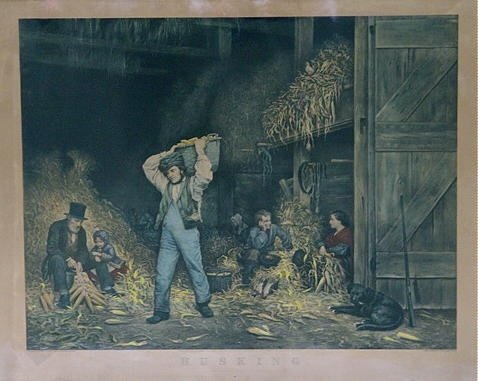 """1138: Rare Currier & Ives Lithograph """"Husking"""""""