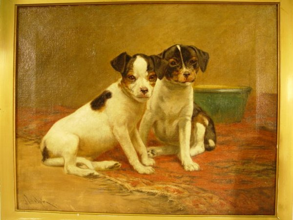 207: Painting: J. Dolph o/c of puppies (Waiti