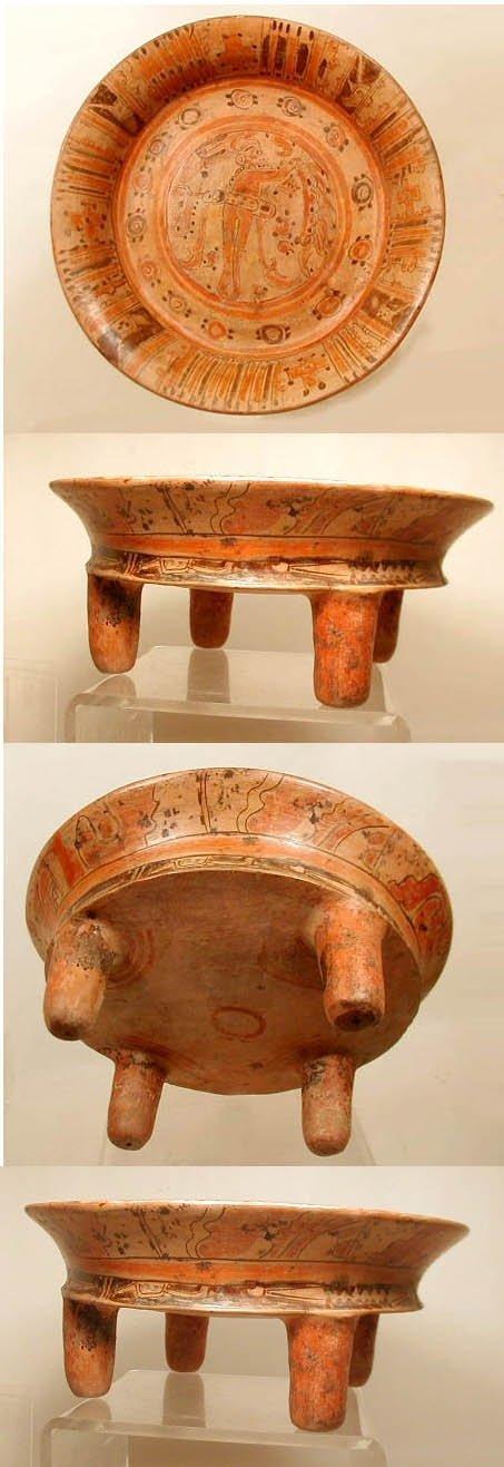 2 Southern Mayan Pottery Plate