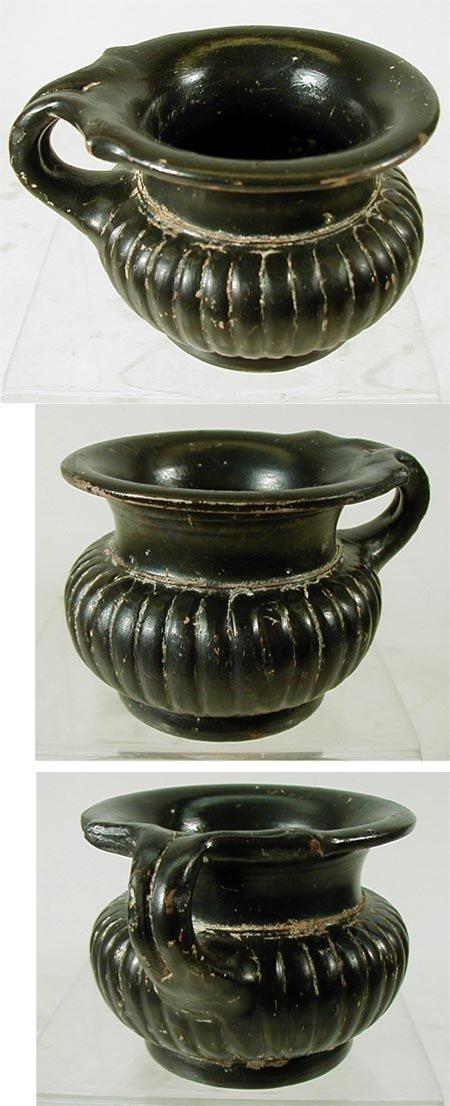 3 South Italian Black-Glazed Ribbed Mug