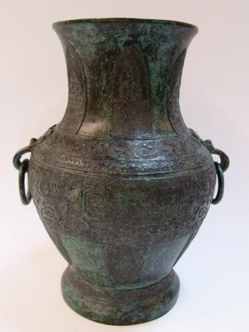 19 Archaic Style Chinese Bronze Temple Vase