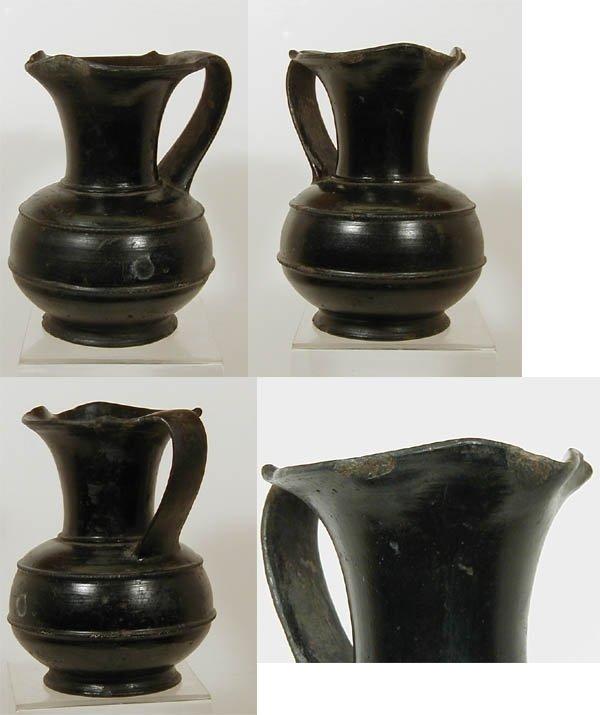 2004B: Etruscan Bucchero Ware Pottery Oinochoe