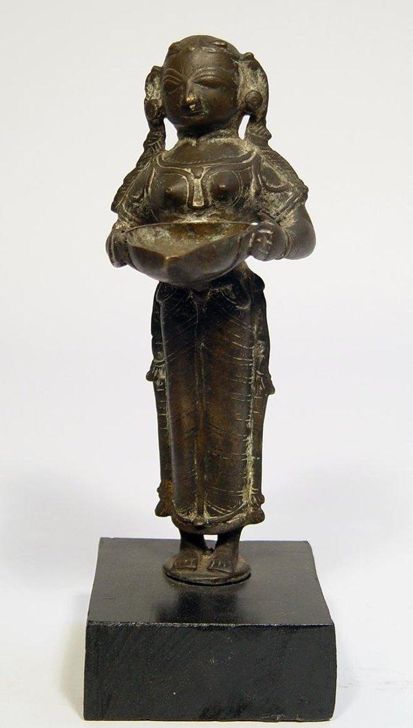 3017C: Indian Bronze Figural Oil Lamp