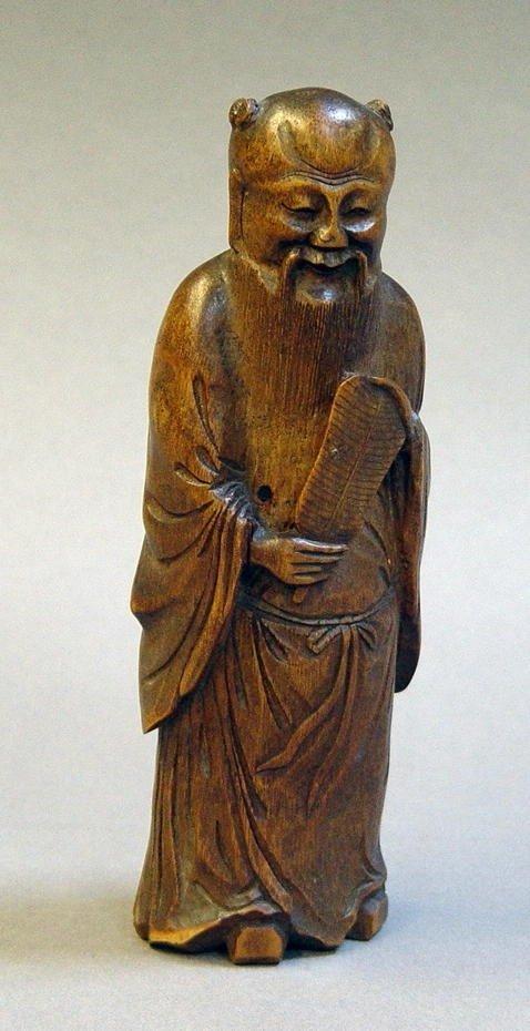 3193: 19C Bamboo Chinese Immortal Figure