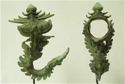 3195A: Pair Ornate Bronze Palanquin Hooks