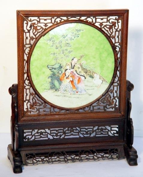 1: Antique Chinese Porcelain Scholars Screen