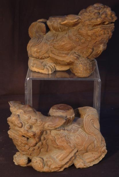 3: Pair Antique Chinese Architectural Foo Dogs