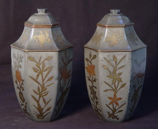 4: Pair Antique Chinese Hexagonal Pewter Vases