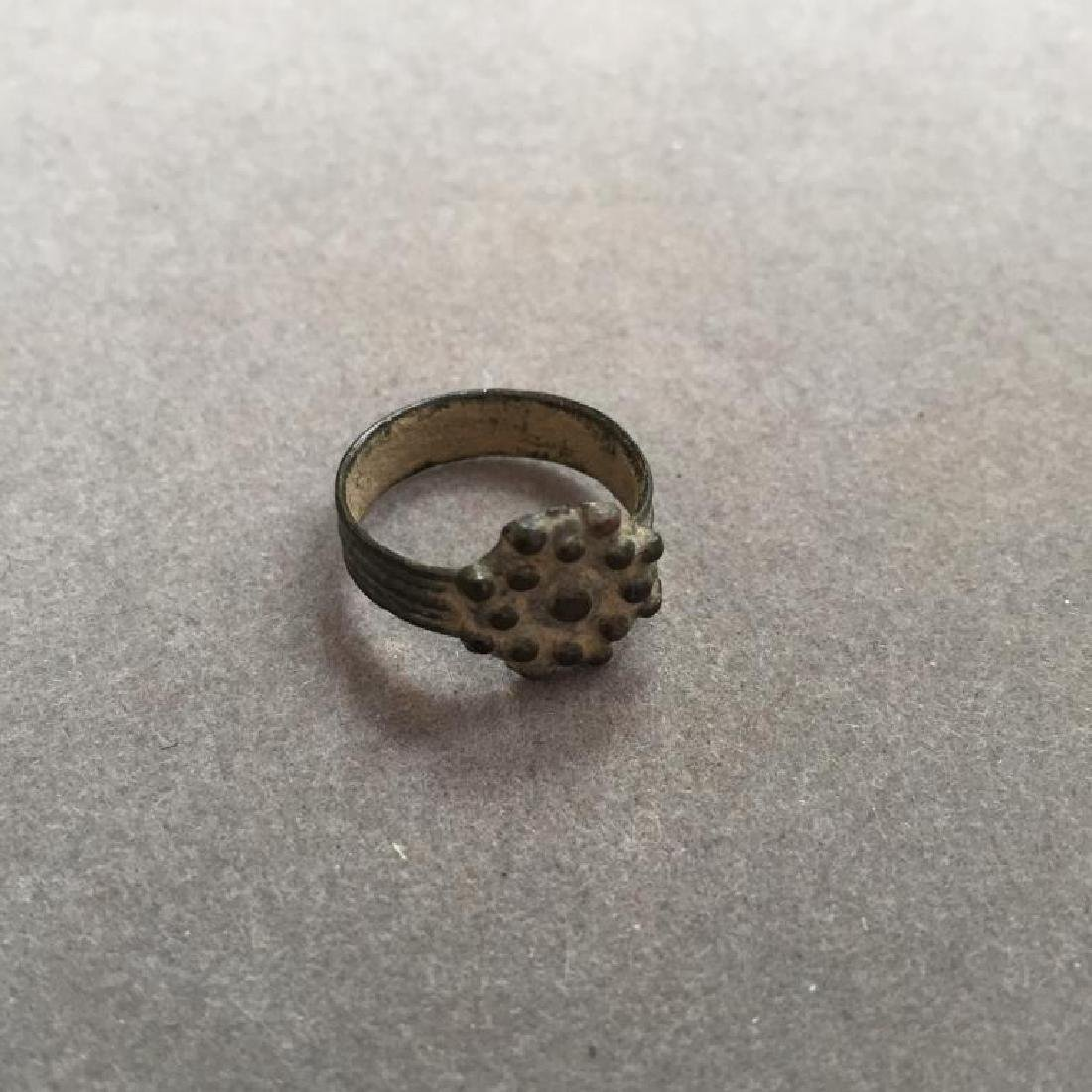 17thc English Bronze Child's Rosette Plague Ring