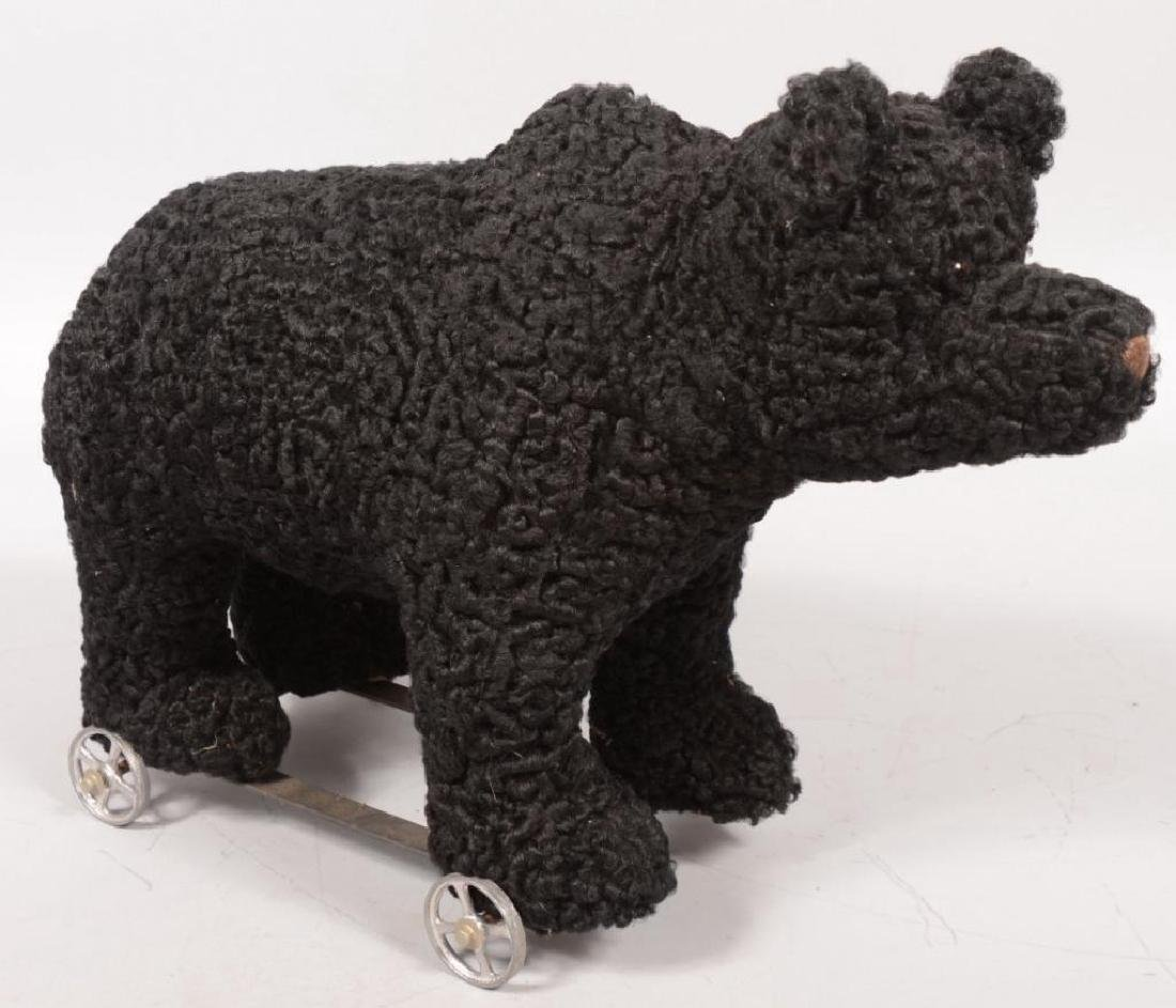 Three Graduated Toy Black Bear Pull Toys - 3