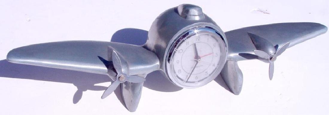 Vintage 1944 WWII Trench Art Airplane Clock