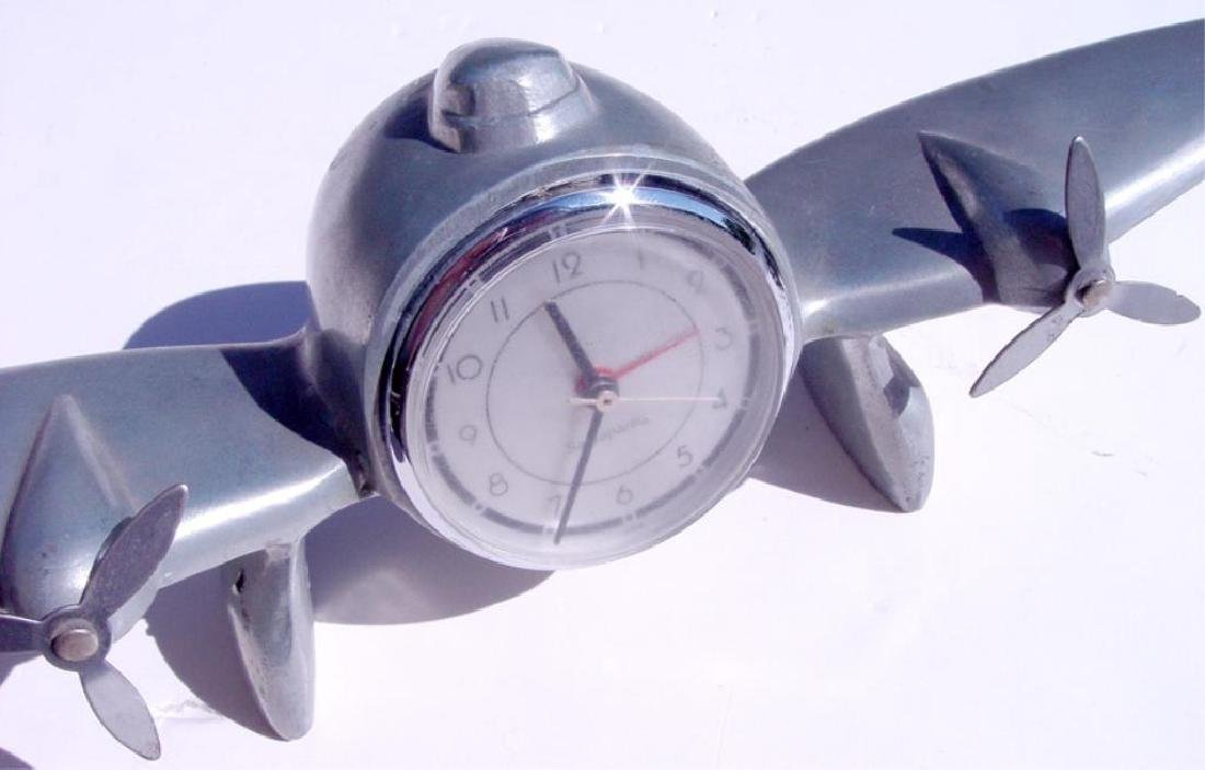 Vintage 1944 WWII Trench Art Airplane Clock - 2