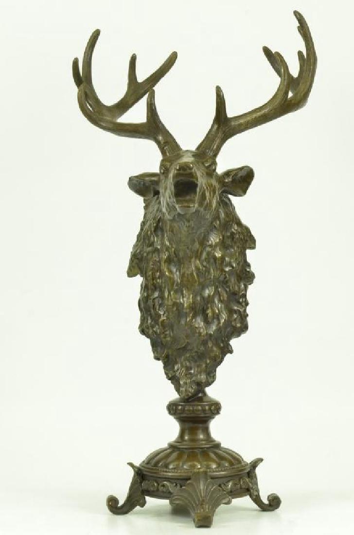 Victorian Hunter's Bronze Deer Stag Trophy