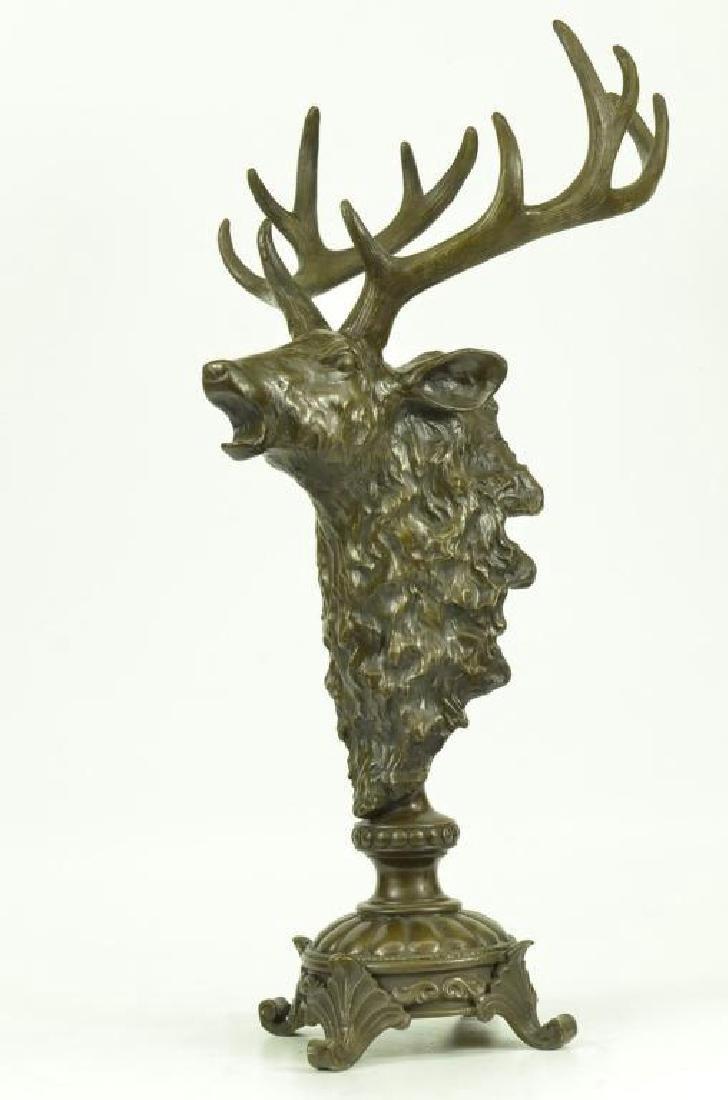 Victorian Hunter's Bronze Deer Stag Trophy - 2