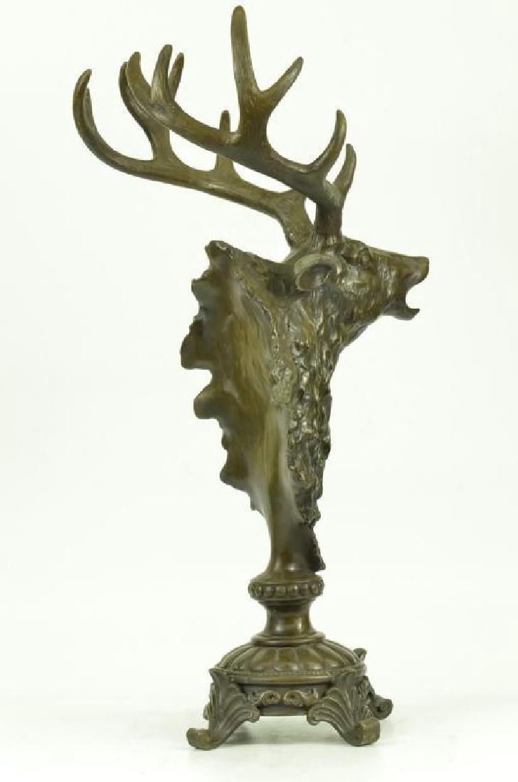 Victorian Hunter's Bronze Deer Stag Trophy - 3