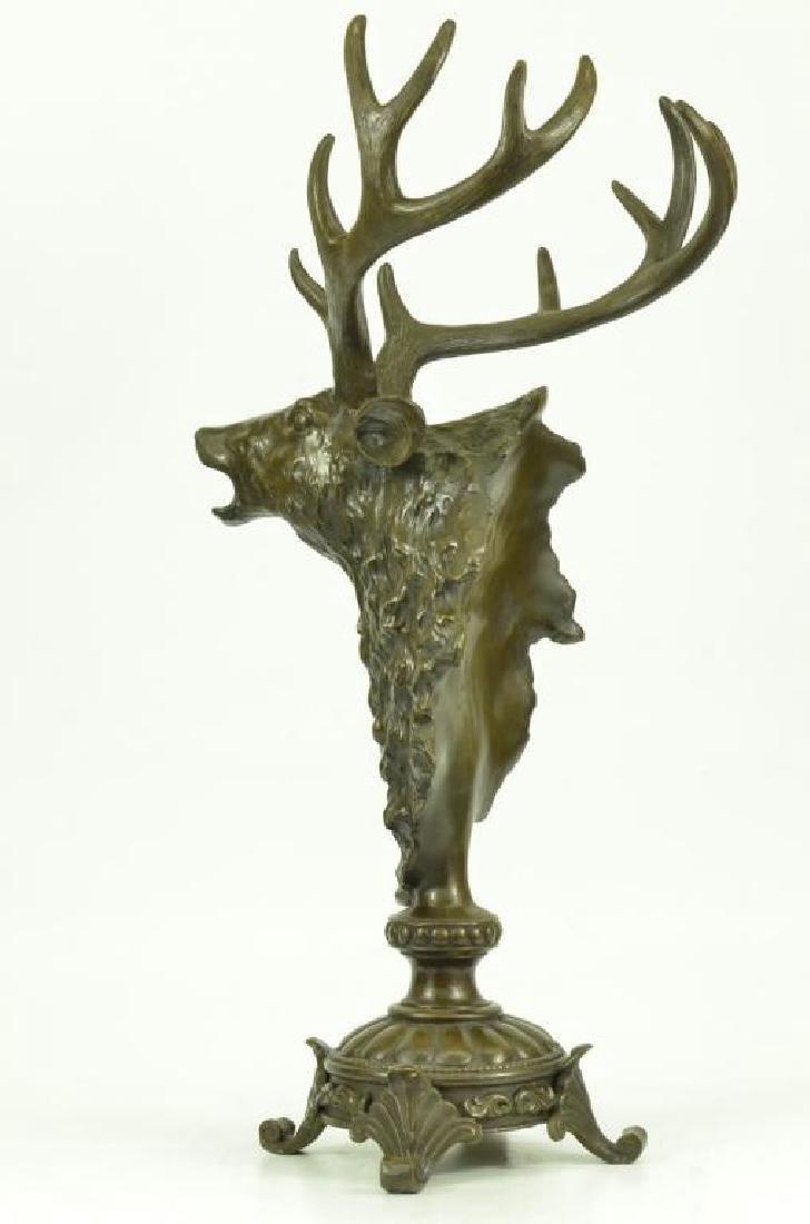 Victorian Hunter's Bronze Deer Stag Trophy - 4