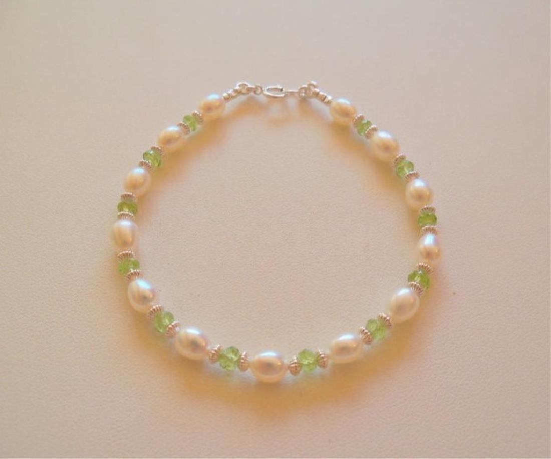 Freshwater Pearl & Peridot Sterling Bracelet
