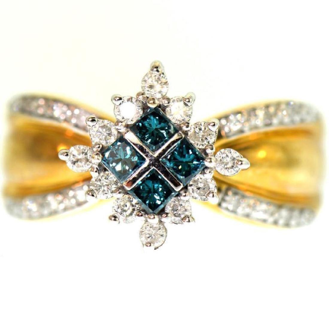 Blue & White Diamond 14Kt Gold Cluster Ring