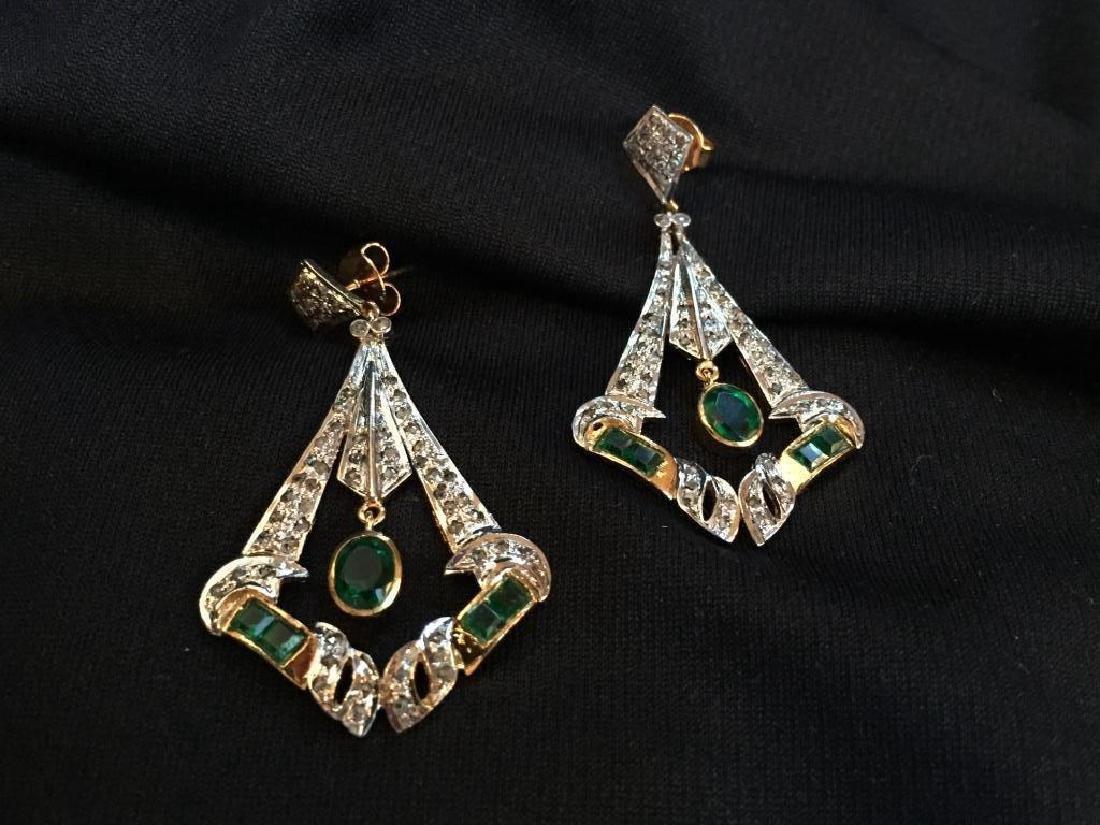 Art Deco Emerald & Diamond Earrings