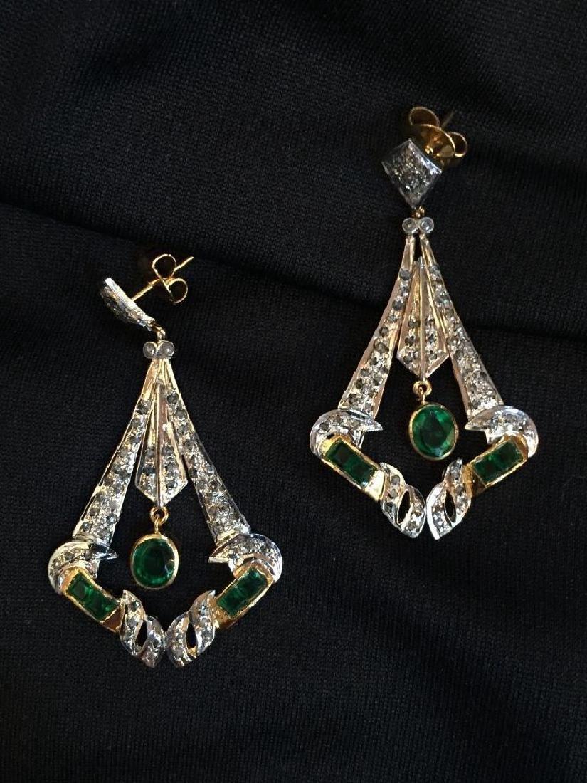 Art Deco Emerald & Diamond Earrings - 3
