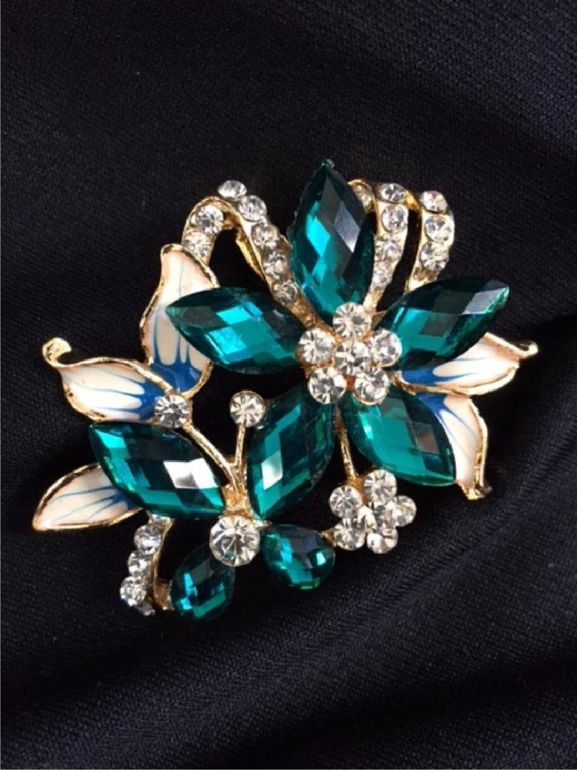 Vintage Enamel Butterfly & Flower Brooch