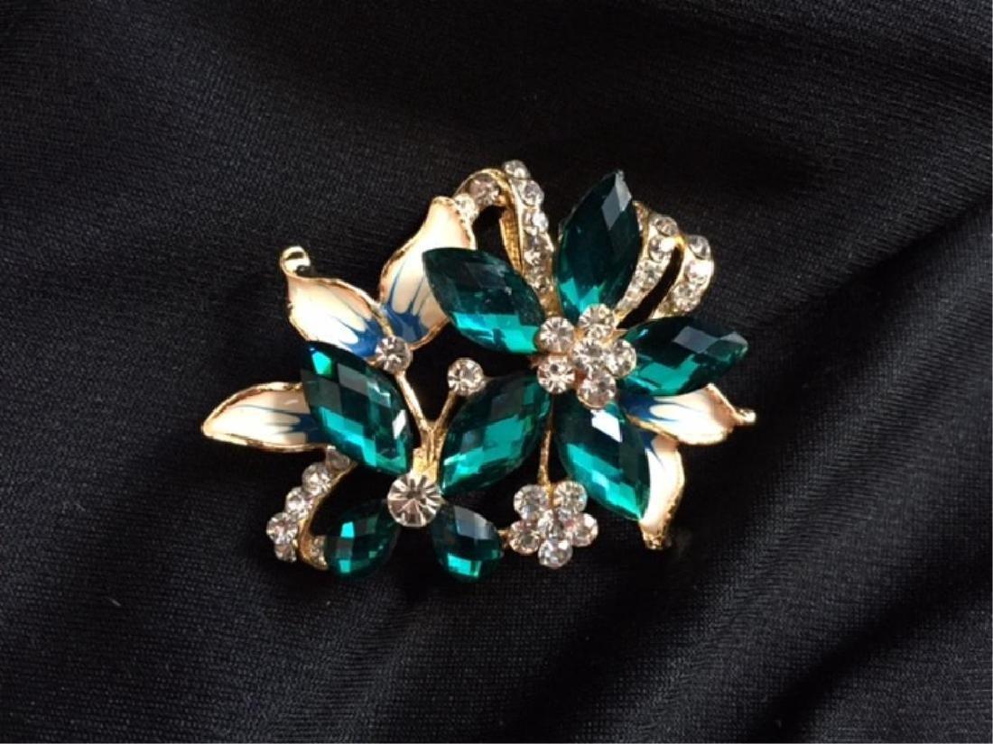 Vintage Enamel Butterfly & Flower Brooch - 2