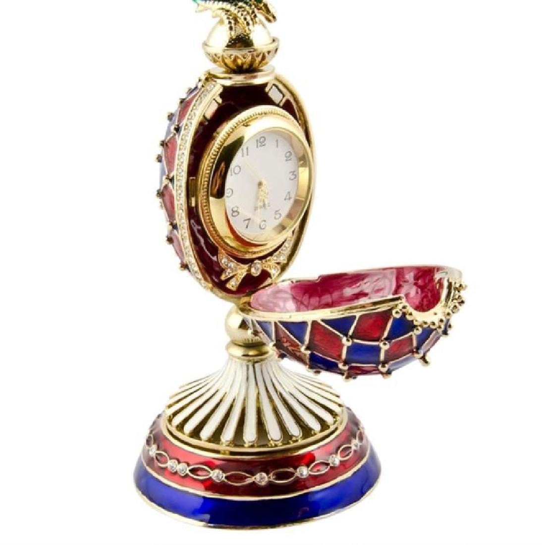 Faberge Inspired Rooster Egg Clock - 4