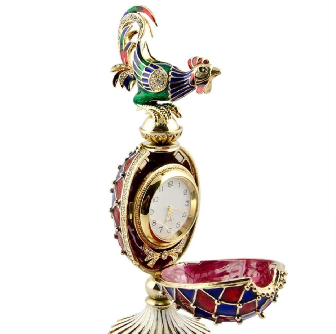 Faberge Inspired Rooster Egg Clock - 5