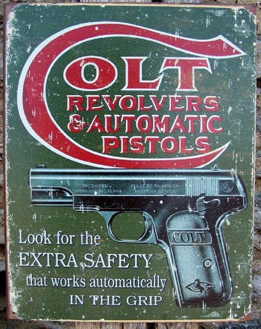 Retro Style Ad Antique Style Colt Gun Metal Sign