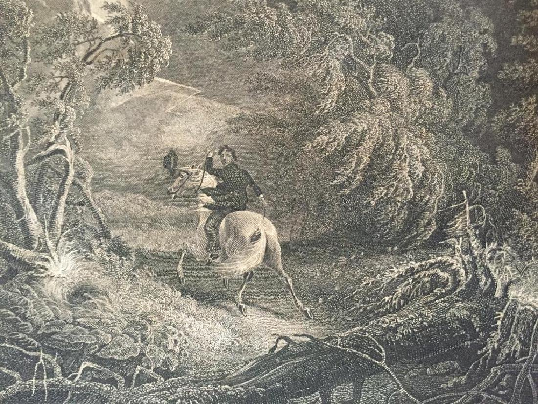 Early 19thc Engraving, Horseman in Storm