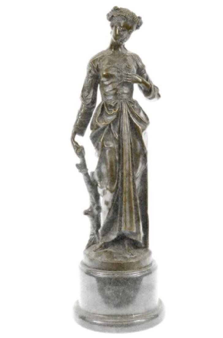 Signed Bronze Sculpture, Young Maiden With Rose