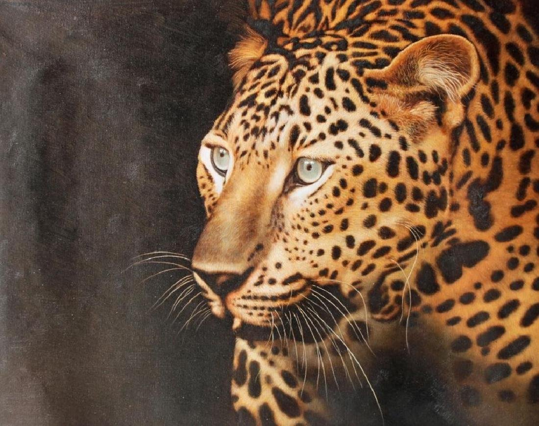 Signed Oil on Canvas Painting, Golden Leopard