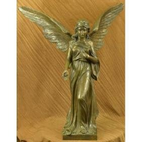 Signed Large Size Praying Angel Bronze Sculpture