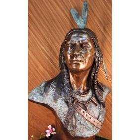After Russell, Native American Bronze Bust