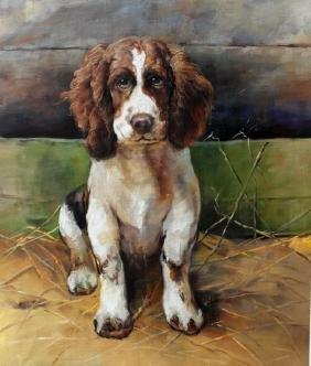 Student of Fulton, Springer Spaniel Dog Painting