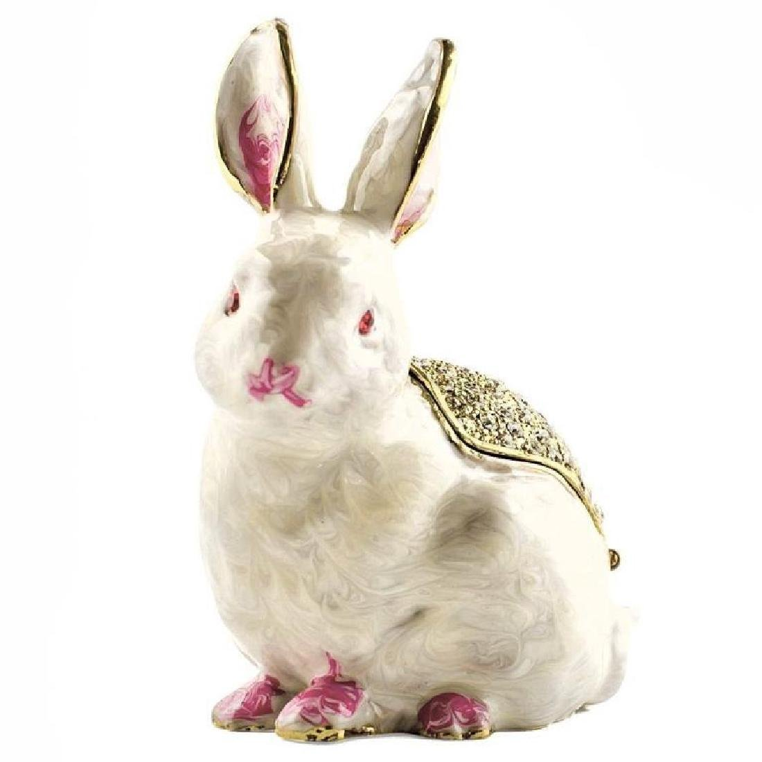 White Bunny Rabbit Jewel Trinket Box