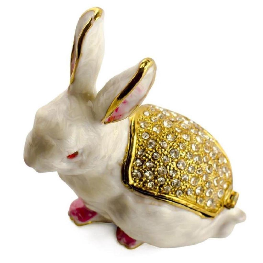 White Bunny Rabbit Jewel Trinket Box - 2