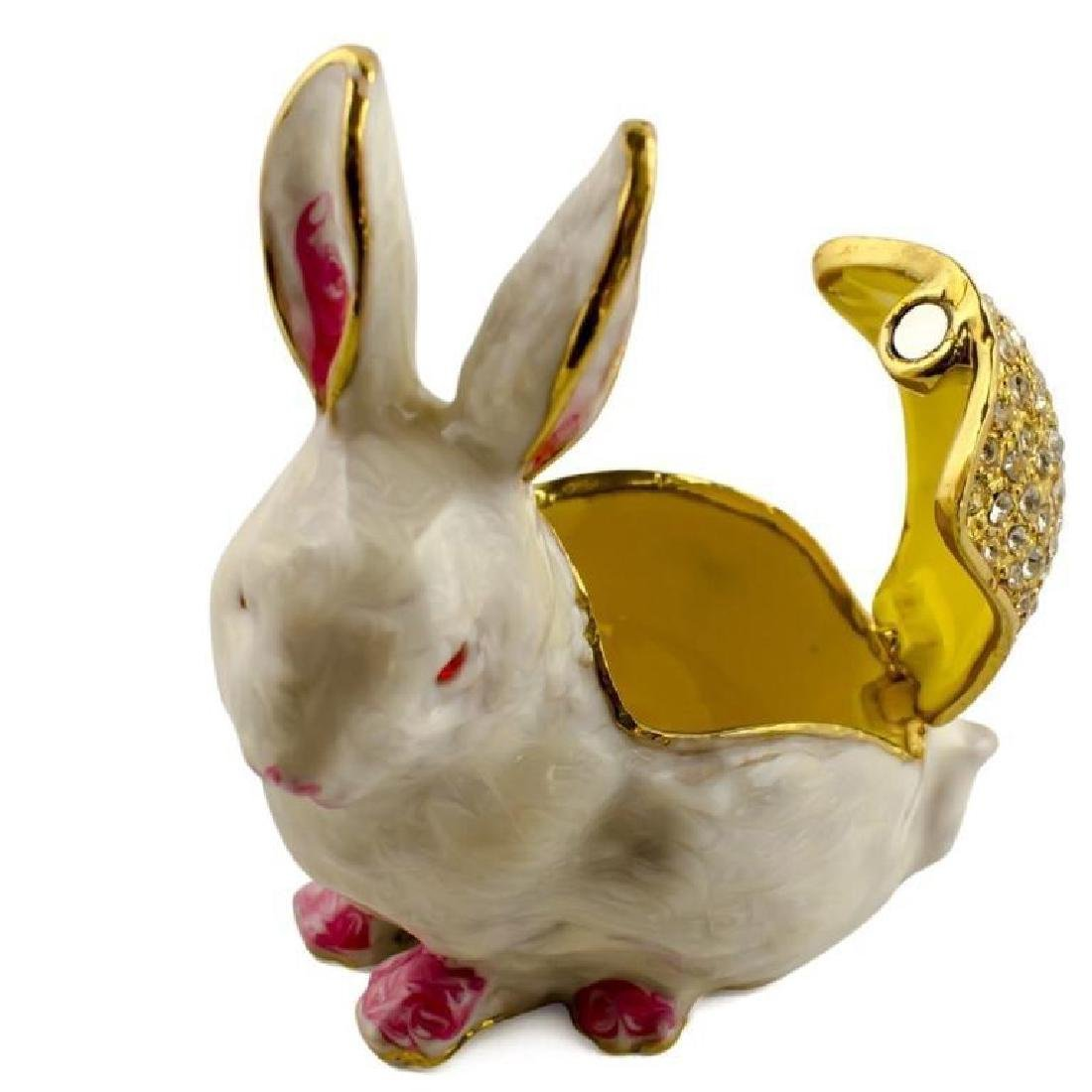 White Bunny Rabbit Jewel Trinket Box - 3