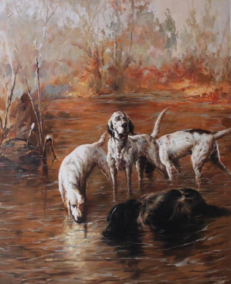 Hunting Dogs in a Pond Oil Painting