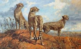 Student of Grant, Cheetah Trio Oil Painting